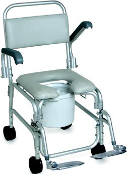 Sedia comoda per anziani e disabili per doccia su ruote.