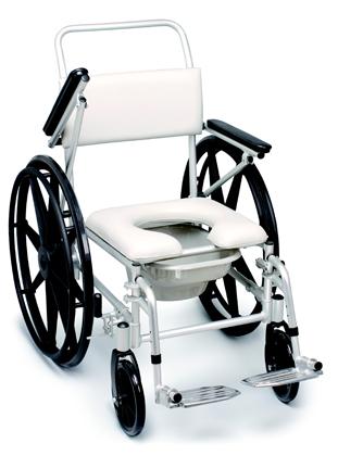 Sedia comoda per anziani e disabili per doccia ad autospinta.