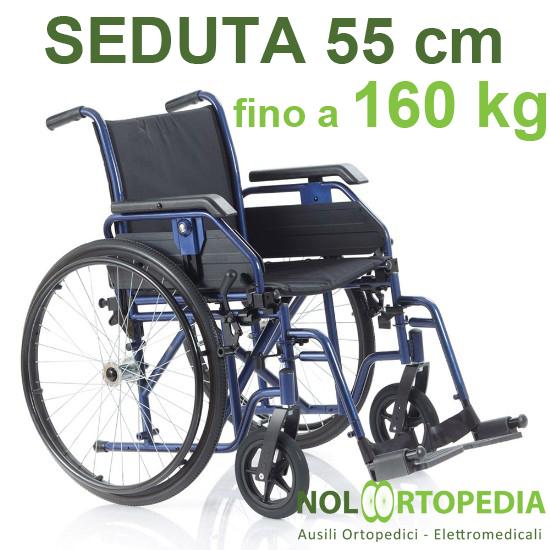 Noleggio sedia a rotelle seduta 55cm, per persone obese, portata fino 160 kg.