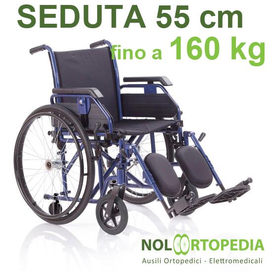 Noleggio sedia a rotelle seduta 55 cm, per persone obese, portata fino 160 kg.