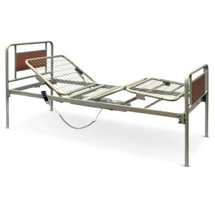 Letto Elettrico con struttura portante con rete metallica (divisa in 2 parti), articolato in 3 posizioni trasversali.