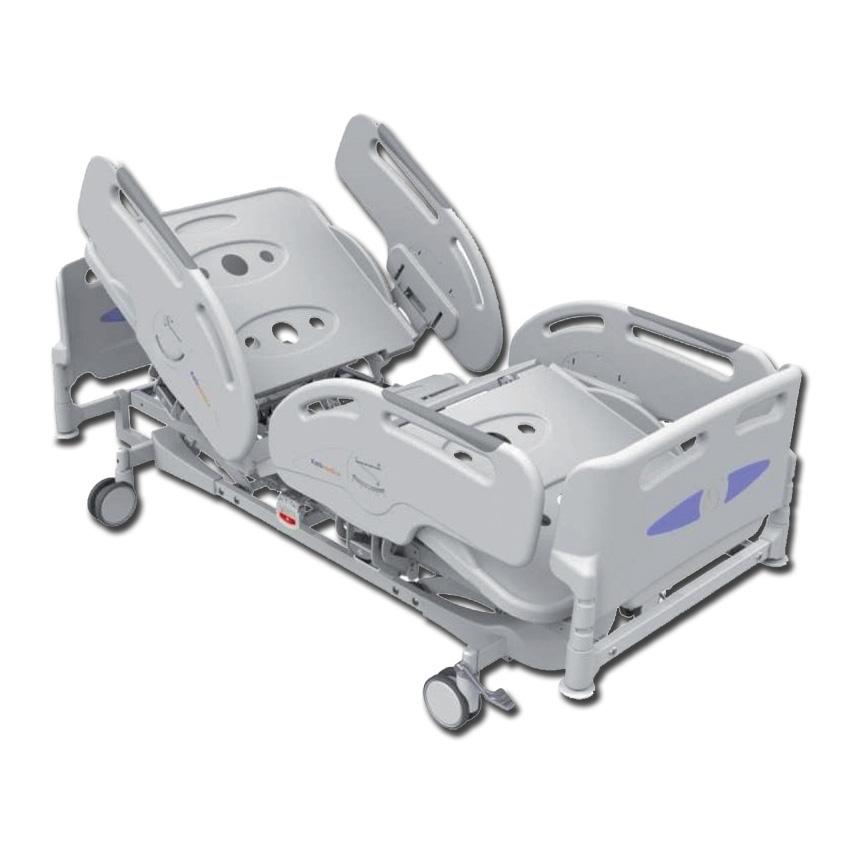 Letto ospedaliero a 3 snodi e 4 sezioni regolabili elettricamente e ad altezza variabile.