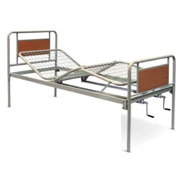 Letto ortopedico a due manovelle per l'elevazione dello schienale e del poggiagambe.