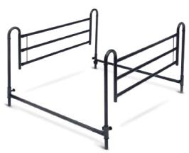Sponde universali in alluminio per letto singolo e matrimoniale. Regolabili in altezza e larghezza.