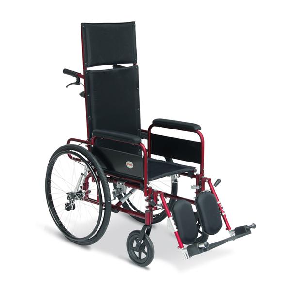 Noleggio sedia a rotelle con schienale reclinabile e alzagambe