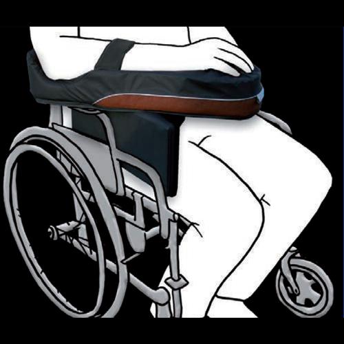 Posizionatore per avambraccio in materiale viscoelastico adatto per uso su carrozzina; un nuovo concetto di posizionatore totalmente indipendente dalla carrozzina.