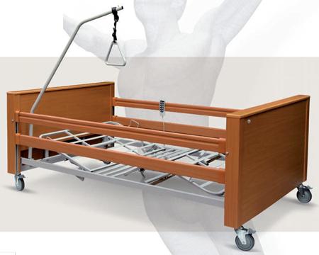 Letto elettrico, con rete 120x195 cm, indicato per l'utilizzo permanente da parte di persone disabili per l'assistenza in casa o in case di cura e centri di riabilitazione.