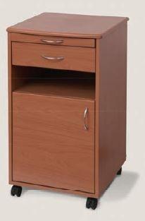 Comodino marrone in legno con 4 ruote e ripiano scorrevole per stanze da letto cod. 15000040
