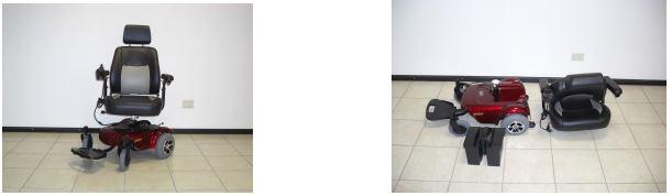 Comoda e agile, per uso interno ed esterno. Molto pratica e maneggevole, ideale per muoversi dove gli spazi sono ridotti. Telaio in acciaio con verniciatura epossidica, carenatura in ABS. Smontabile facilmente in tre parti (sedile, pacco batterie e base carrozzina) per il trasporto in auto. Piatto pedana unico, ribaltabile e regolabile in inclinazione, capace di sorreggere il peso della persona in piedi. Sedile imbottito ed anatomico, girevole a 360°. Dotata di ruotine anti-ribaltamento, senza impianto di illuminazione.