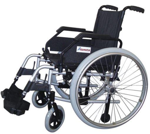 Carrozzina pieghevole standard ad auto spinta Seduta cm 41-43-46-48-50-55 Bracciolo a scrivania (desk) K12 Pedane fisse angolo 65° K20 Portata massima kg110