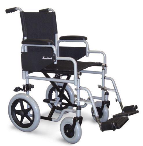 """Carrozzina standard pieghevole da transito manovrabile dall'accompagnatore. Struttura in lega di metallo (cromo molibdeno acciaio), ruote posteriori da !2"""", anteriori 200x50 piene soft. Tele sedile e schienale ignifughe. Fornita nel colore grigio con le seguenti caratteristiche:  Seduta cm 41-43-46 Bracciolo scrivania (desk) M12 Pedana fissa M20Pedane elevabili (optional) Portata massima kg100"""