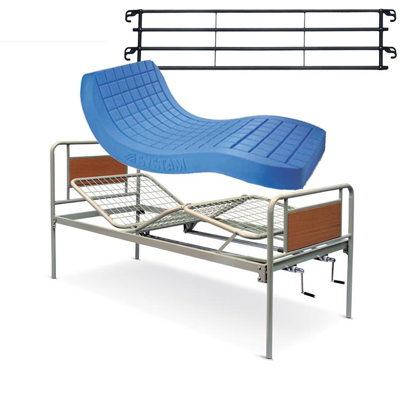 Noleggio letto da degenza ortopedico a due manovelle con materasso antidecubito