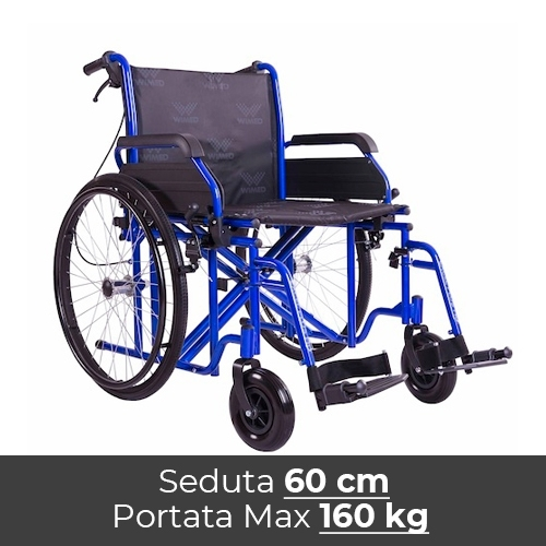 Noleggio sedia a rotelle seduta 60 cm, per persone obese, portata fino 160 kg.