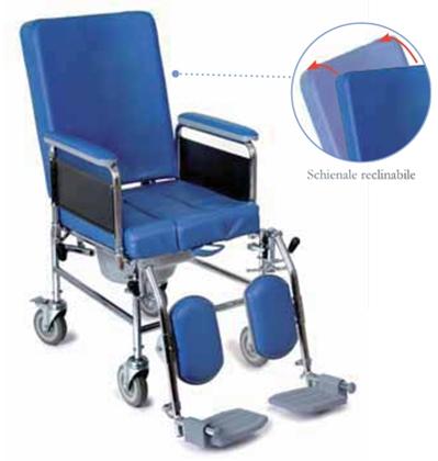 Immagine di RC127 Sedia comoda a 4 ruote da 12,5 cm - schienale reclinabile - seduta 48 cm