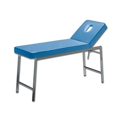 Immagine di Lettino Classico Visita - cromato - blu - schienale con foro - Gima - cod. 27405