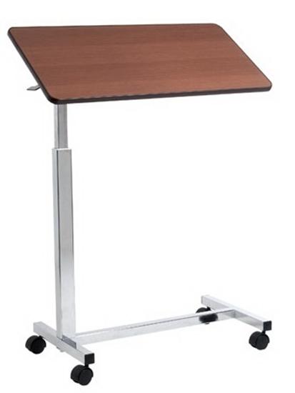 Picture of Vassoio da letto su ruote con molla per sollevamento automatico 1 piano - colore marrone/naturale - Mopedia