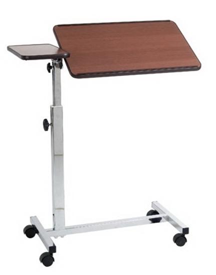 Picture of Vassoio da letto su ruote con molla per sollevamento manuale - due piani - colore marrone/naturale - Mopedia