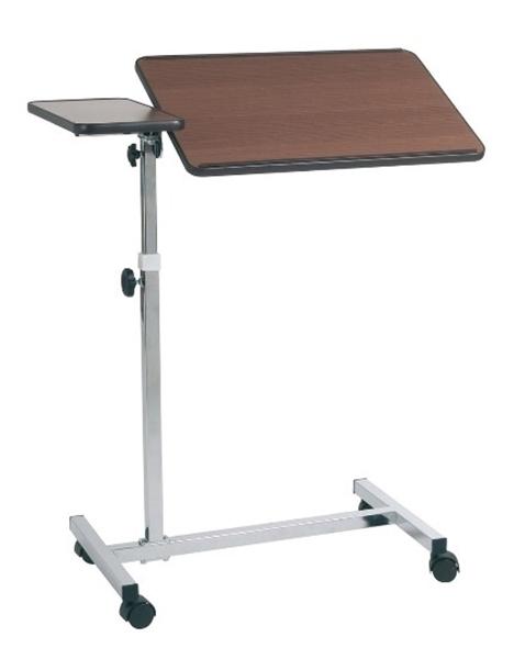 Picture of Vassoio da letto su ruote - regolazione manuale - 2 piani - colore marrone/naturale - Mopedia - cod. RS992