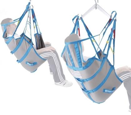 Immagine di Imbracatura contenitiva con stecche e fasce per sollevamalati Con poggiatesta - In tessuto di poliestere in tela - Mopedia