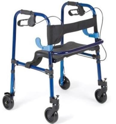 Immagine di Rollator con 2 ruote  piroettanti con blocco 2 ruote fisse con freni altezza regolabile pieghevole con due leve in alluminio - Mopedia cod RP751