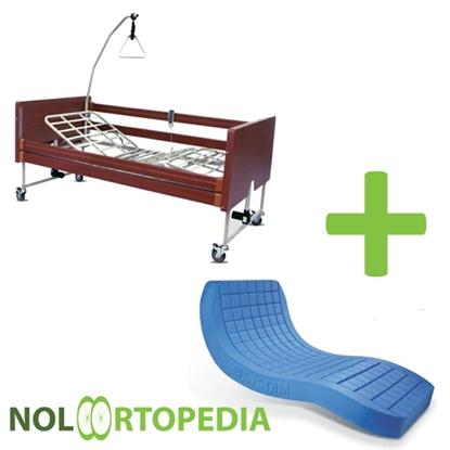 Immagine di Noleggio Letto da degenza ortopedico elettrico in legno + Materasso Antidecubito