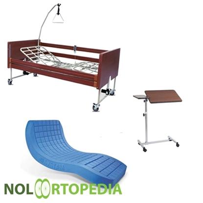 Immagine di Noleggio letto elettrico in legno + Materasso Antidecubito + Vassoio da letto