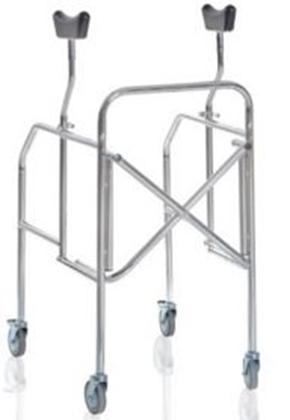 Immagine di Deambulatori con appoggio sottoascellare pieghevole gambe regolabili in acciaio cromato - Mopedia Cod. RP754S
