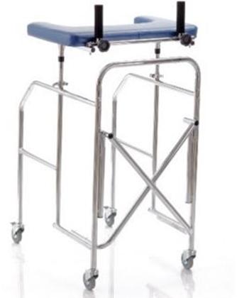 Immagine di Deambulatori con appoggio antibrachiale a tavolo gambe regolabili in acciaio cromato pieghevole - Mopedia Cod. RP756T