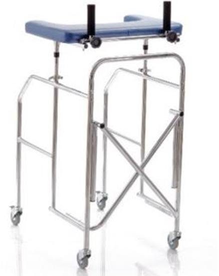 Picture of Deambulatori con appoggio antibrachiale a tavolo gambe regolabili in acciaio cromato pieghevole - Mopedia Cod. RP756T