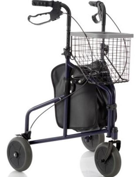 Picture of Deambulatori Rollators 3 ruote piegevole completo di cestino vassoio e borsa in acciaio verniciato - Mopedia Cod. RP685B