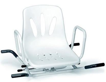 Immagine di Sedili per la vasca girevoli in acciaio verniciato bianco con 2 battute laterali di sicurezza - Mopedia Cod. RS936