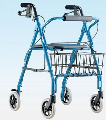 Immagine di Deambulatore in duralluminio tipo rollator 4 ruote con freno a leva sedile e cestino  - Mediland cod. 854900