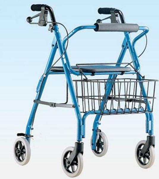 Picture of Deambulatore in duralluminio tipo rollator 4 ruote con freno a leva sedile e cestino  - Mediland cod. 854900