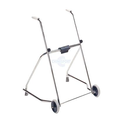 Immagine di Deambulatori per adulti pieghevole con due ruote e due puntali Cromato - Chinesport 42240