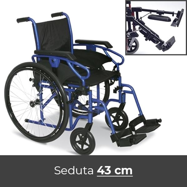 Noleggio sedia a rotelle con pedane elevabili 43cm