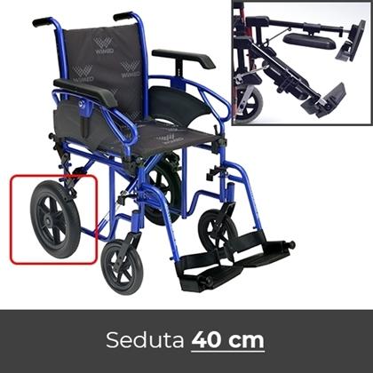 Noleggio sedia a rotelle 40 cm transito con alzagambe